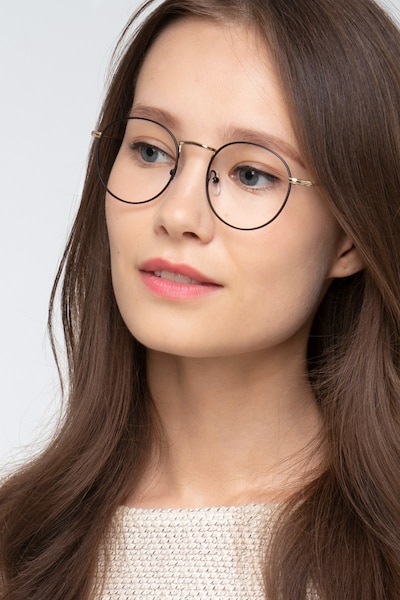 Wistful Black Metal Eyeglass Frames for Women from EyeBuyDirect
