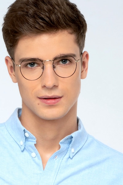 Wistful Coffee Metal Eyeglass Frames for Men from EyeBuyDirect, Front View