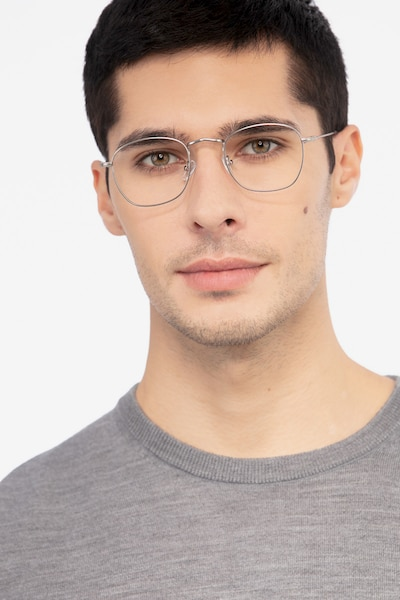 Sonder Silver Metal Eyeglass Frames for Men from EyeBuyDirect, Front View