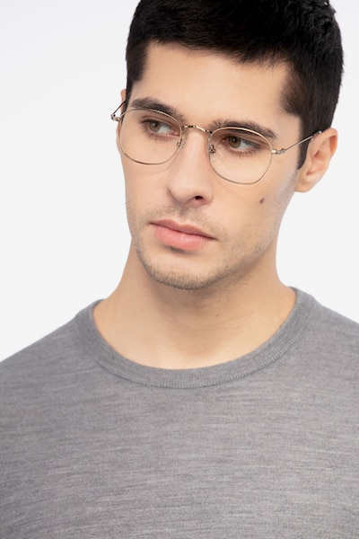 Sonder Bronze Metal Eyeglass Frames for Men from EyeBuyDirect, Front View
