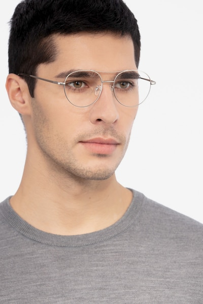 Cassini Silver Metal Eyeglass Frames for Men from EyeBuyDirect, Front View