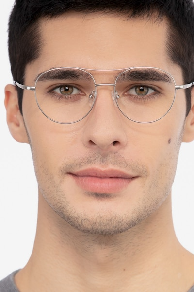 Cassini Silver Metal Eyeglass Frames for Men from EyeBuyDirect