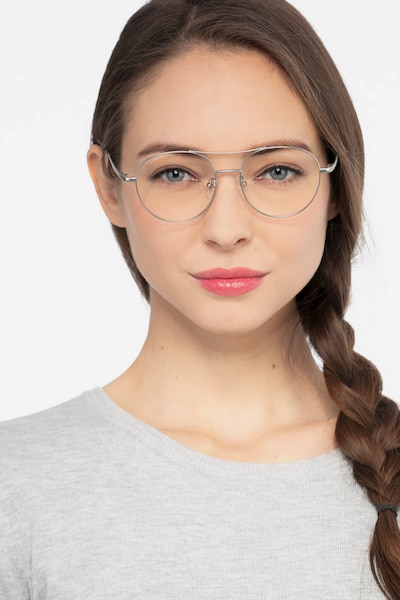 Cassini Silver Metal Eyeglass Frames for Women from EyeBuyDirect, Front View