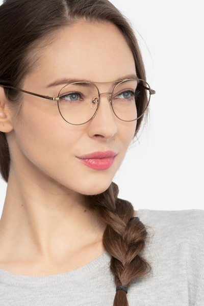 Cassini Brown Metal Eyeglass Frames for Women from EyeBuyDirect, Front View