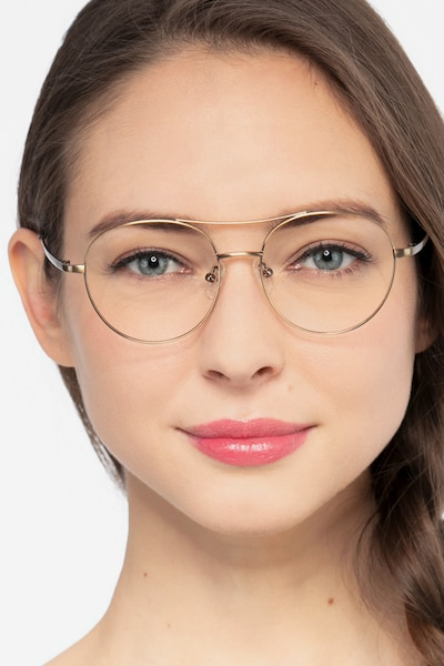 Cassini Brown Metal Eyeglass Frames for Women from EyeBuyDirect