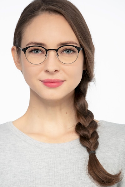 Fixate Black Golden Metal Eyeglass Frames for Women from EyeBuyDirect, Front View
