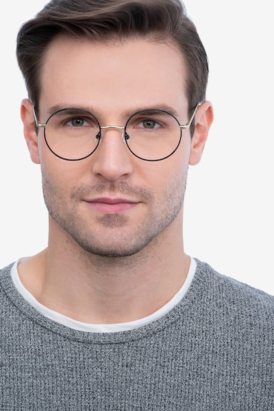 Synapse Black Metal Eyeglass Frames for Men from EyeBuyDirect, Front View