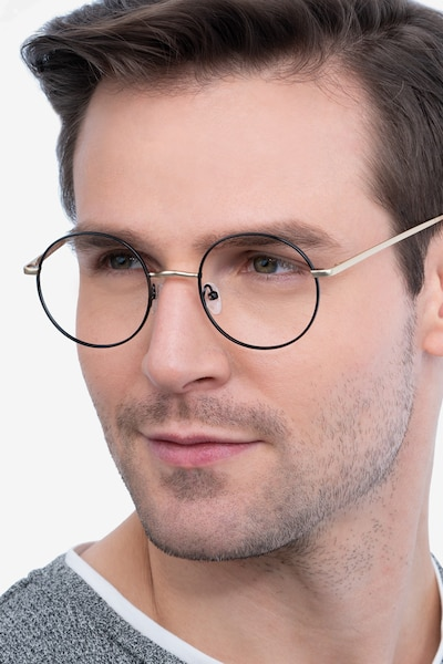 Synapse Black Metal Eyeglass Frames for Men from EyeBuyDirect