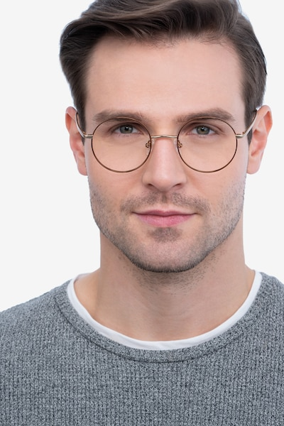 Synapse Brown Metal Eyeglass Frames for Men from EyeBuyDirect, Front View