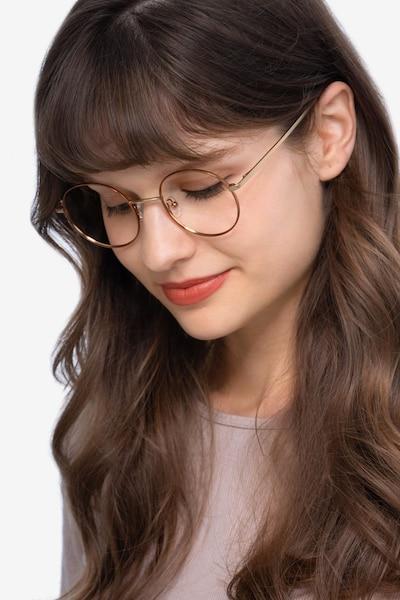 Synapse Marron Métal Montures de Lunettes pour Femmes d'EyeBuyDirect, Vue de Face
