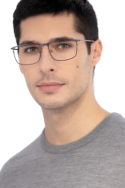 Typha Navy Metal Eyeglass Frames for Men from EyeBuyDirect, Front View
