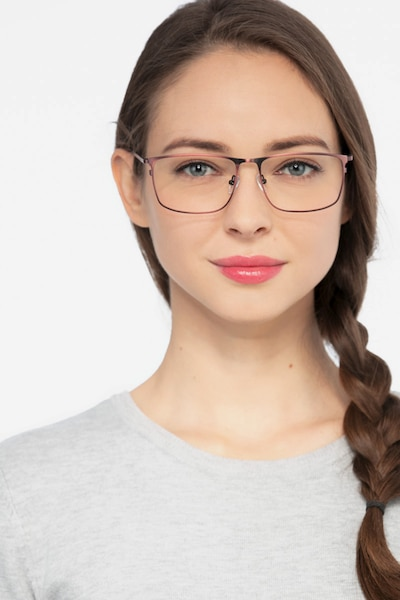 Typha Red Metal Eyeglass Frames for Women from EyeBuyDirect, Front View