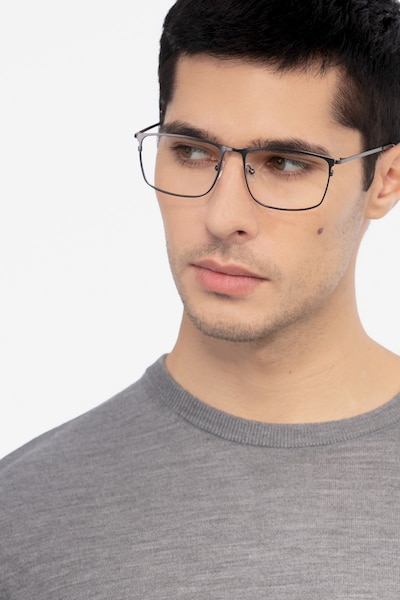Typha Gunmetal Metal Eyeglass Frames for Men from EyeBuyDirect, Front View