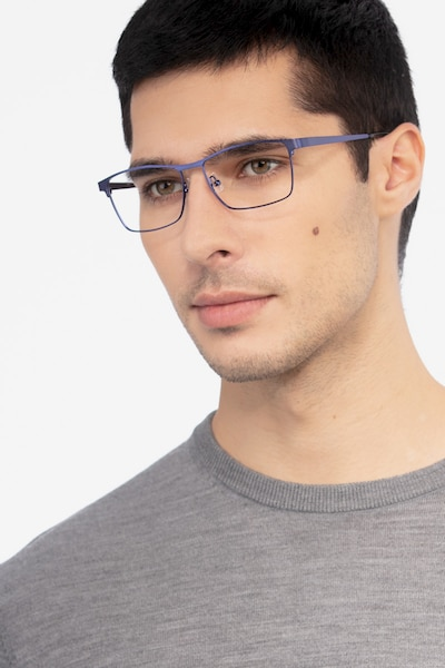 Caliber Blue Metal Eyeglass Frames for Men from EyeBuyDirect, Front View