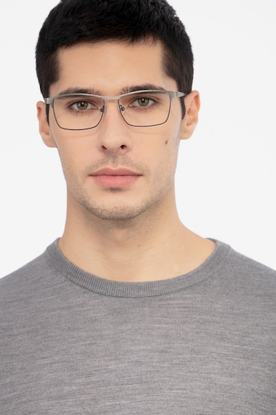 Caliber Gunmetal Metal Eyeglass Frames for Men from EyeBuyDirect, Front View
