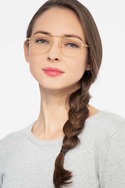 Cordon Golden Metal Eyeglass Frames for Women from EyeBuyDirect, Front View