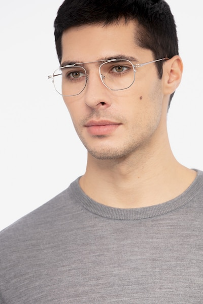 Cordon Matte Silver Metal Eyeglass Frames for Men from EyeBuyDirect, Front View