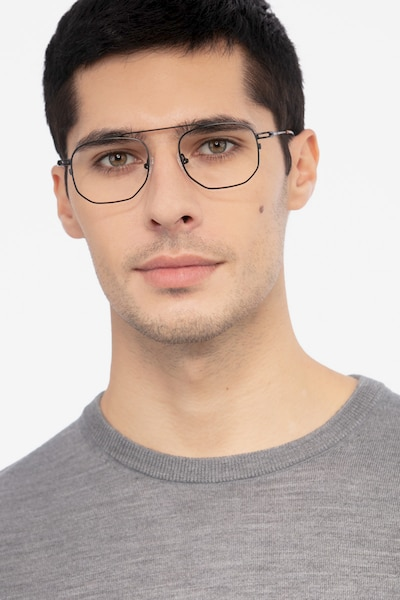 Cordon Black Metal Eyeglass Frames for Men from EyeBuyDirect, Front View
