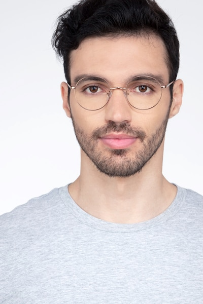 Synapse Rose Gold Metal Eyeglass Frames for Men from EyeBuyDirect, Front View