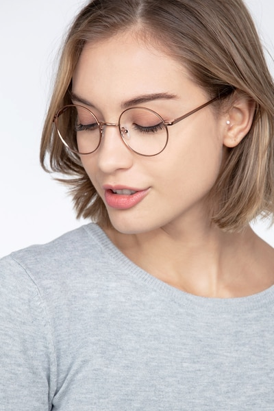 Synapse Rose Gold Metal Eyeglass Frames for Women from EyeBuyDirect, Front View