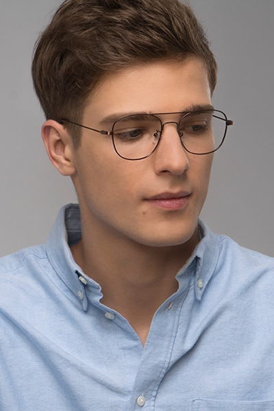 Courser Coffee Metal Eyeglass Frames for Men from EyeBuyDirect, Front View