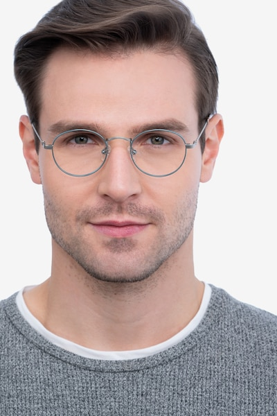 Cupertino Frost Blue Metal Eyeglass Frames for Men from EyeBuyDirect, Front View