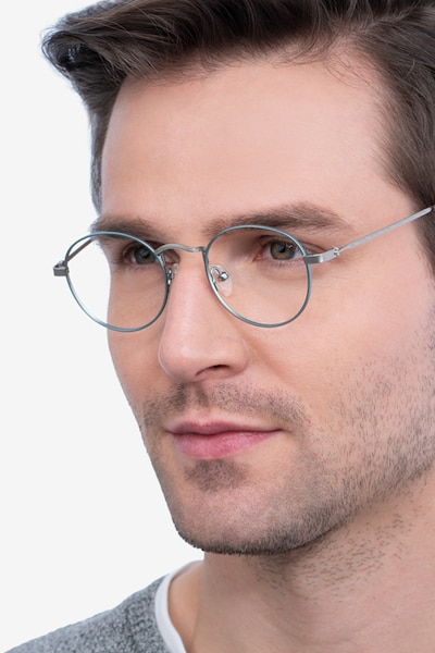 Cupertino Frost Blue Metal Eyeglass Frames for Men from EyeBuyDirect