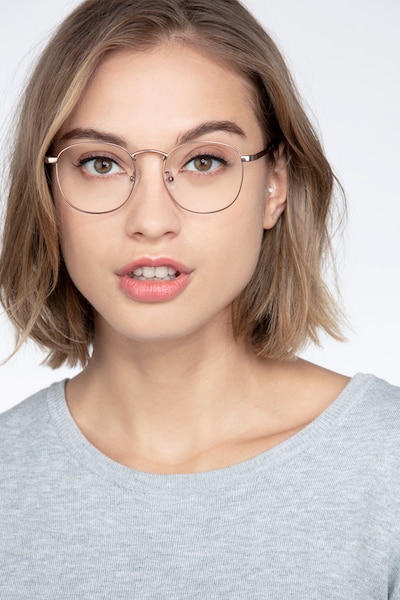 St Michel - Square Rose Gold Frame Glasses | EyeBuyDirect
