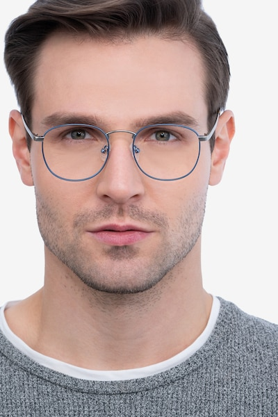 St Michel Frost Blue Metal Eyeglass Frames for Men from EyeBuyDirect, Front View