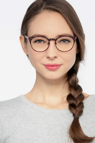 Lattice Red Purple Metal Eyeglass Frames for Women from EyeBuyDirect, Front View