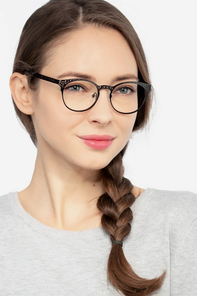 Lattice Black Metal Eyeglass Frames for Women from EyeBuyDirect, Front View