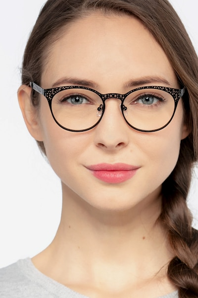Lattice Black Metal Eyeglass Frames for Women from EyeBuyDirect