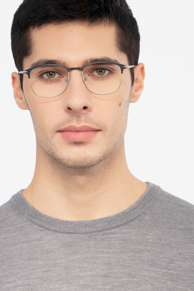Cella Black Metal Eyeglass Frames for Men from EyeBuyDirect, Front View