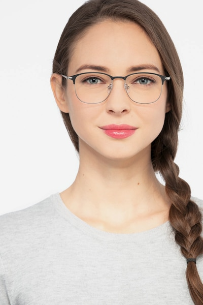 Cella Black Metal Eyeglass Frames for Women from EyeBuyDirect, Front View