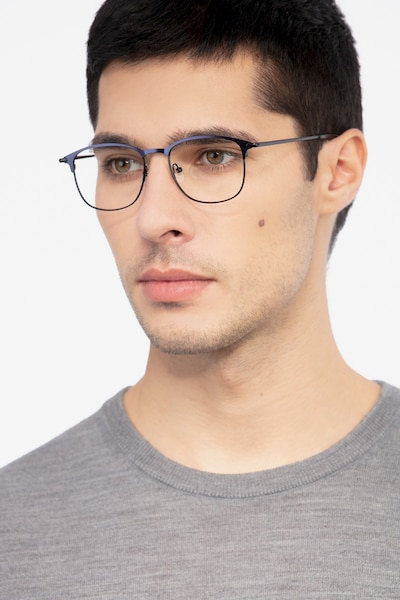 Cella Navy Metal Eyeglass Frames for Men from EyeBuyDirect, Front View
