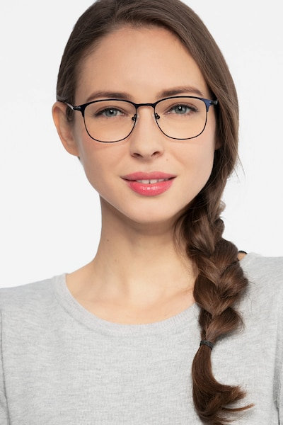 Cella Navy Metal Eyeglass Frames for Women from EyeBuyDirect, Front View