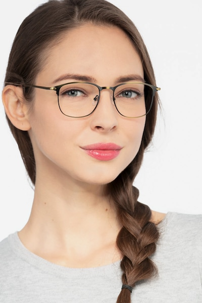 Cella Bronze Metal Eyeglass Frames for Women from EyeBuyDirect, Front View