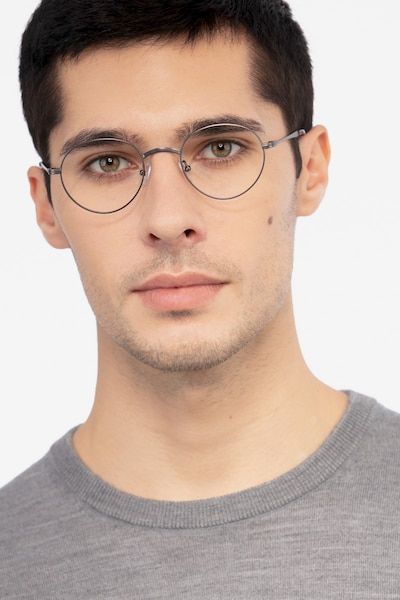 Izabel Gunmetal Metal Eyeglass Frames for Men from EyeBuyDirect, Front View