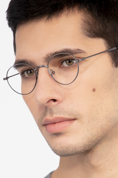 Izabel Gunmetal Metal Eyeglass Frames for Men from EyeBuyDirect