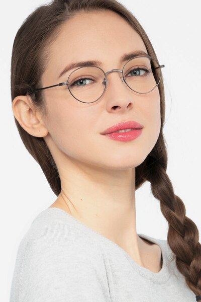 Izabel Gunmetal Metal Eyeglass Frames for Women from EyeBuyDirect, Front View