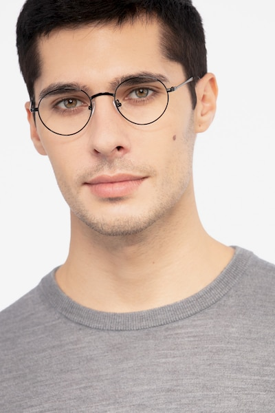 Izabel Black Metal Eyeglass Frames for Men from EyeBuyDirect, Front View