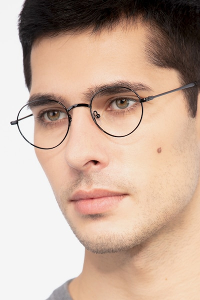 Izabel Black Metal Eyeglass Frames for Men from EyeBuyDirect
