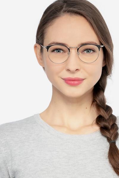 Veronica Black Silver Métal Montures de Lunettes pour Femmes d'EyeBuyDirect, Vue de Face
