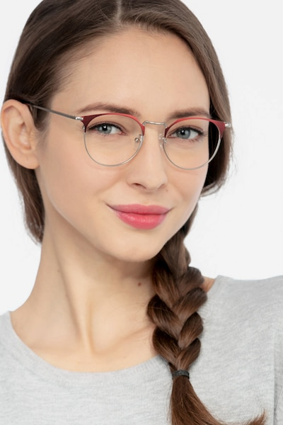 Veronica Red Metal Eyeglass Frames for Women from EyeBuyDirect, Front View
