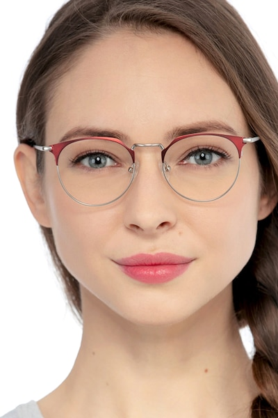 Veronica Red Metal Eyeglass Frames for Women from EyeBuyDirect