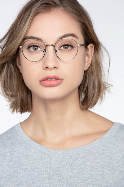 Nomad Bronze Metal Eyeglass Frames for Women from EyeBuyDirect, Front View