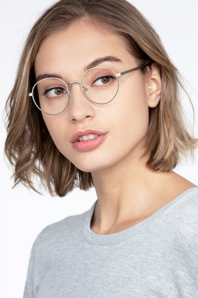 Nomad Silver Metal Eyeglass Frames for Women from EyeBuyDirect