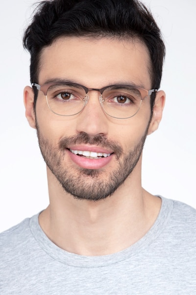 Toledo Brown Metal Eyeglass Frames for Men from EyeBuyDirect, Front View