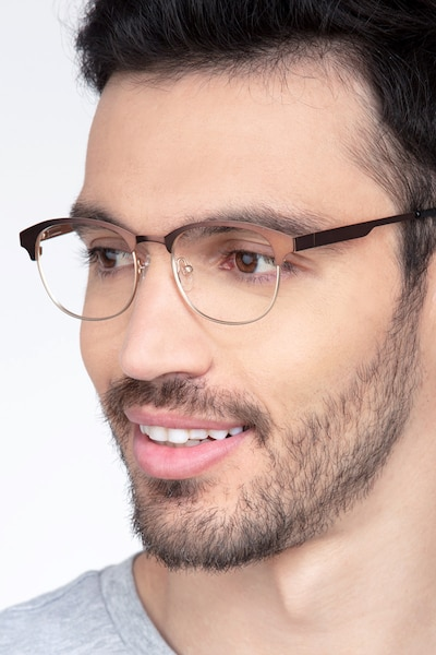 Toledo Brown Metal Eyeglass Frames for Men from EyeBuyDirect