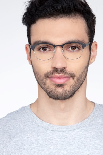 Toledo Black Metal Eyeglass Frames for Men from EyeBuyDirect, Front View